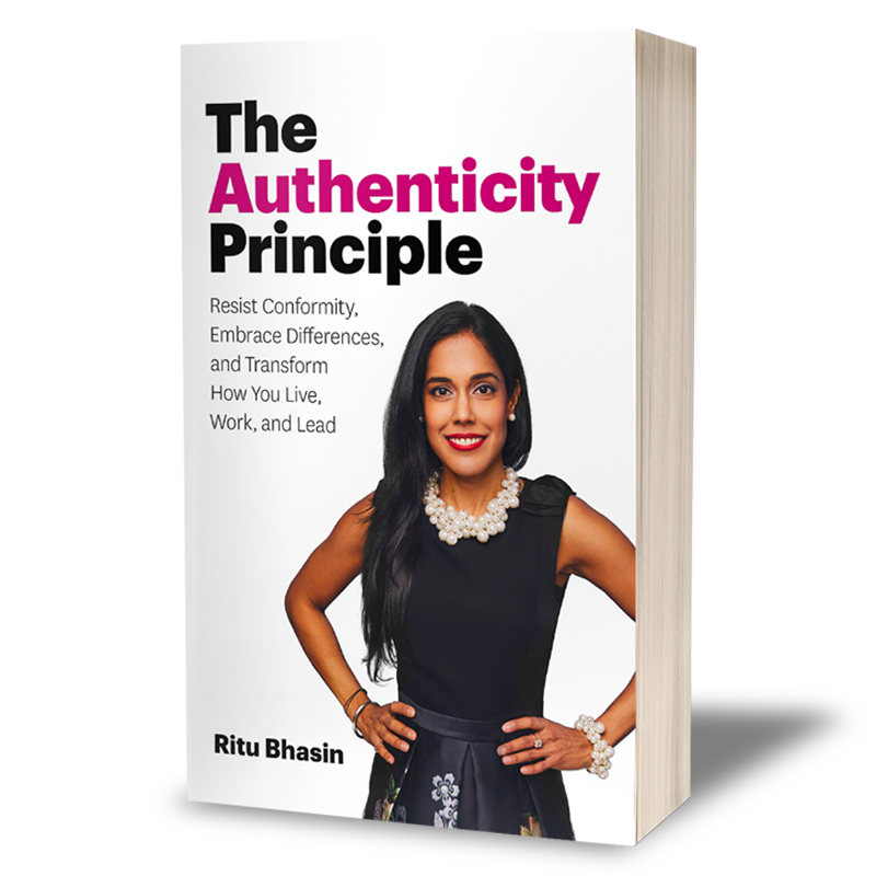 "A paperback book cover that says ""The Authenticity Principle"" with Ritu Bhasin smiling with her hands on her hips."