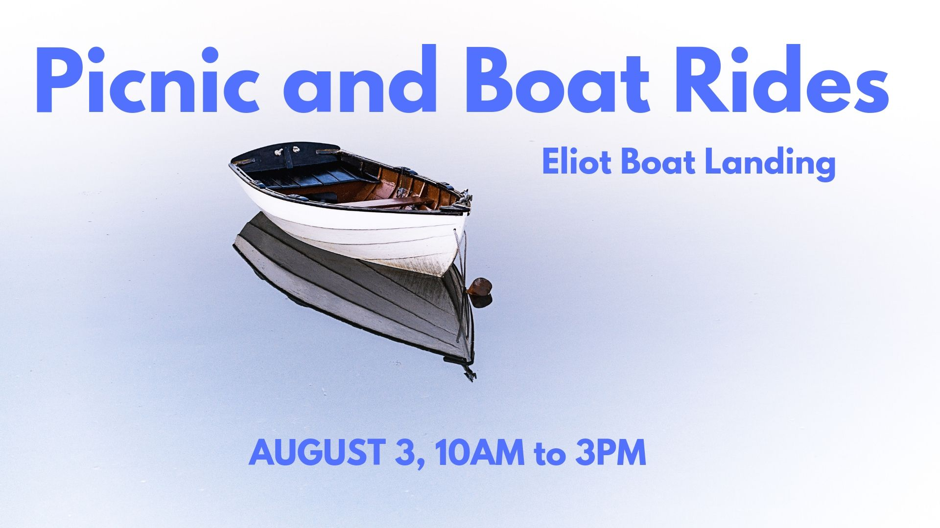 COME AND HAVE A PICNIC AND GRILL WITH US AT THE ELIOT BOAT LANDING. ARRIVE FROM 10AM. THERE IS A PLAYGROUND AND BEACH AND MARK WILL GIVE RIDES IN HIS LITTLE BOAT UP AND DOWN THE RIVER! FOR MORE DETAILS AND TO RSVP VISIT OUR FACEBOOK EVENT.  CLICK HERE  TO GO TO OUR PAGE.