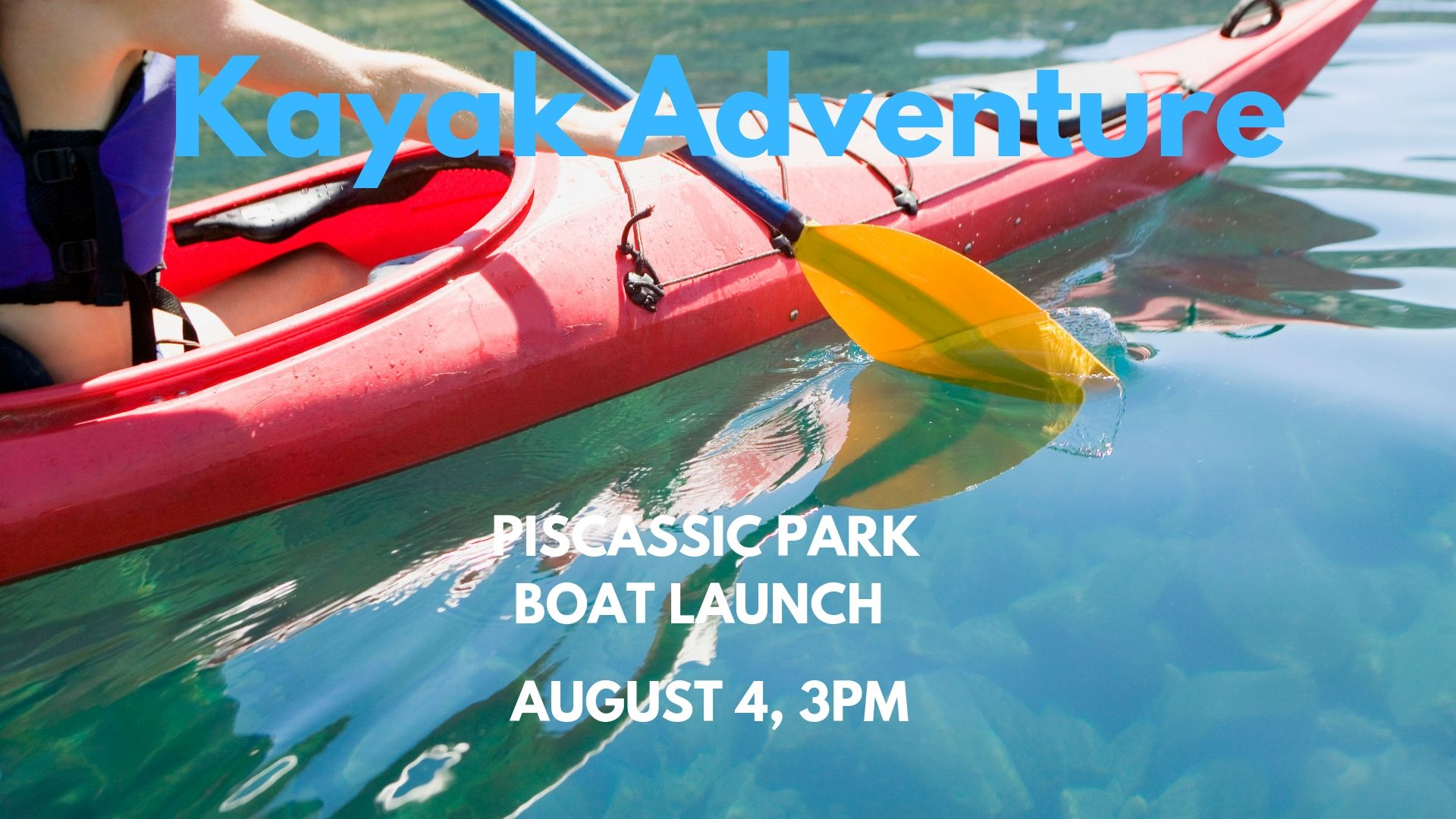 BRING YOUR KAYAK ALONG AND JOIN US FOR AN AFTERNOON PADDLE ON THE PISCASSIC RIVER. WE WILL MEET AT THE BOAT LAUNCH AT 3PM. FOR MORE DETAILS AND TO RSVP VISIT OUR FACEBOOK EVENT.  CLICK HERE  TO GO TO OUR PAGE.
