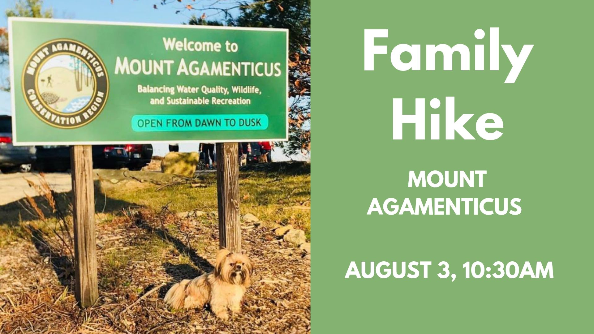 BRING THE FAMILY ALONG FOR THIS EASY HIKE UP MOUNT AGAMENTICUS. MEET AT 10:30AM TO START HIKING AT 10:45AM. FOR MORE DETAILS AND TO RSVP VISIT OUR FACEBOOK EVENT.  CLICK HERE  TO GO TO OUR PAGE.