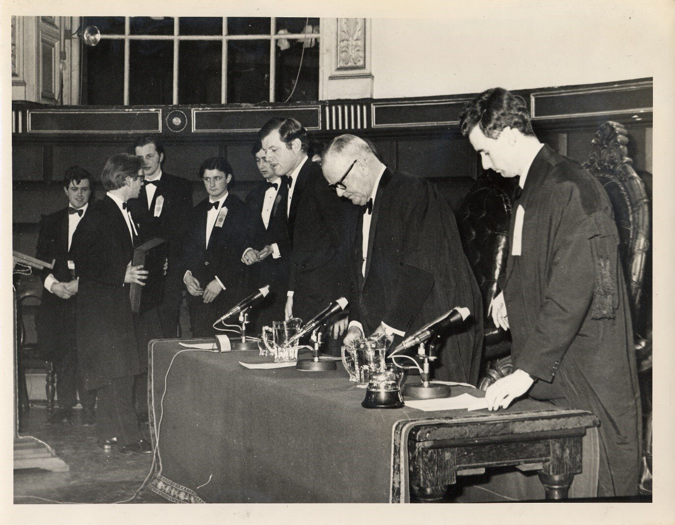 HIST200 CELEBRATIONS: (R-L) Auditor Ian Ashe, Hist President Frederick Boland, and US Senator Ted Kennedy