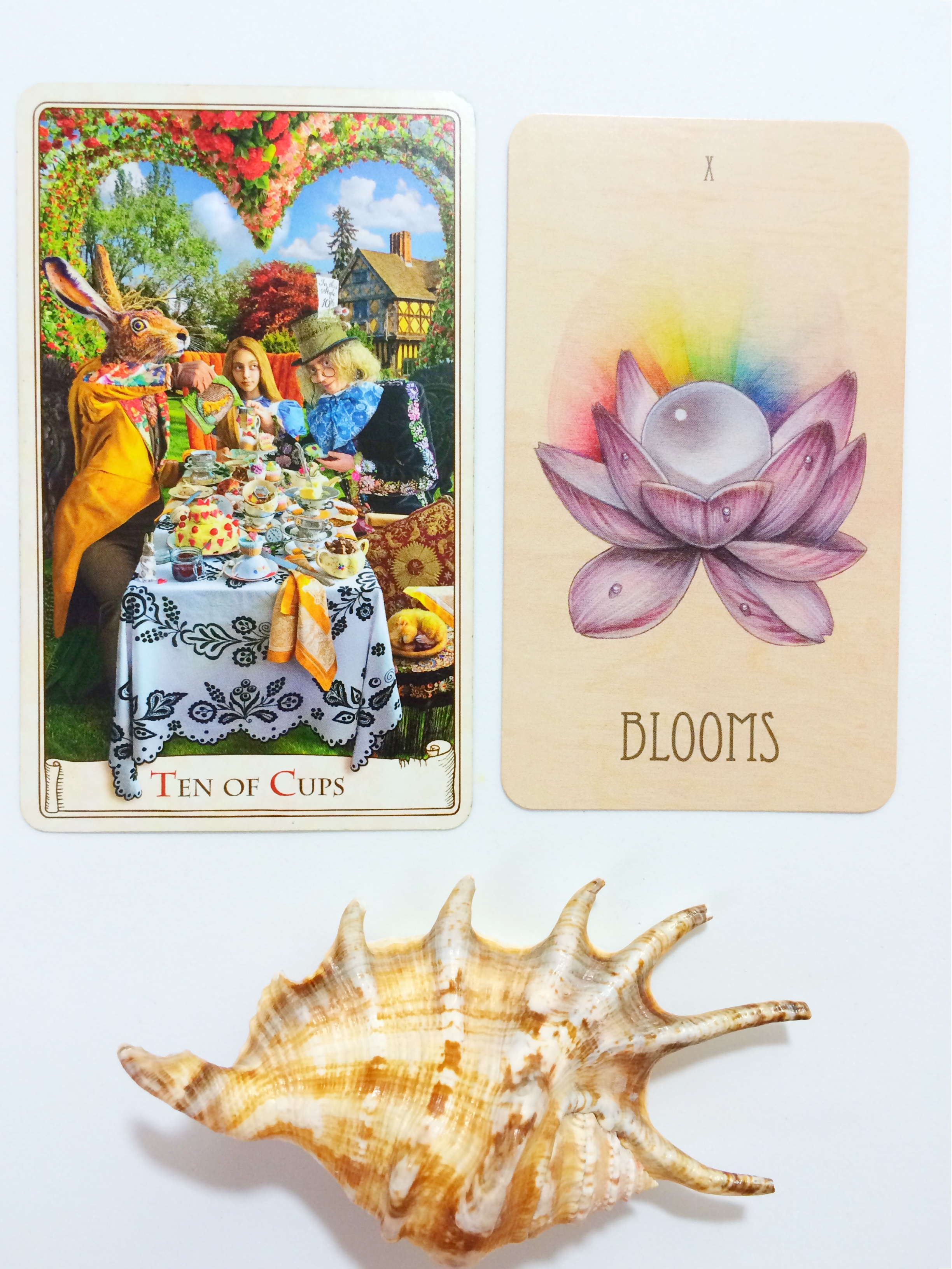 The 10 of Cups from the Alice Tarot (baba studios) which is detailed and the 10 of Cups from The Wooden Tarot which is rather minimal.