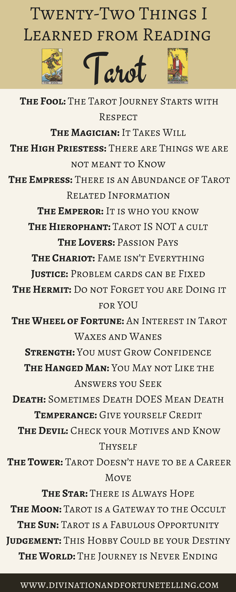 Illustration: The 22 things I learned from reading Tarot cards inspired by the major arcana. When I was a beginner, although I was exposed to divination through being a Romany Gypsy, there was a lot about Tarot which I didn't understand. Now I am used what I have learned to give tips to other would be fortune tellers who are just learning how to read the cards whether thats to make predictions about love, and money or for healing. Cards used in this image are the rider waite smith tarot deck.