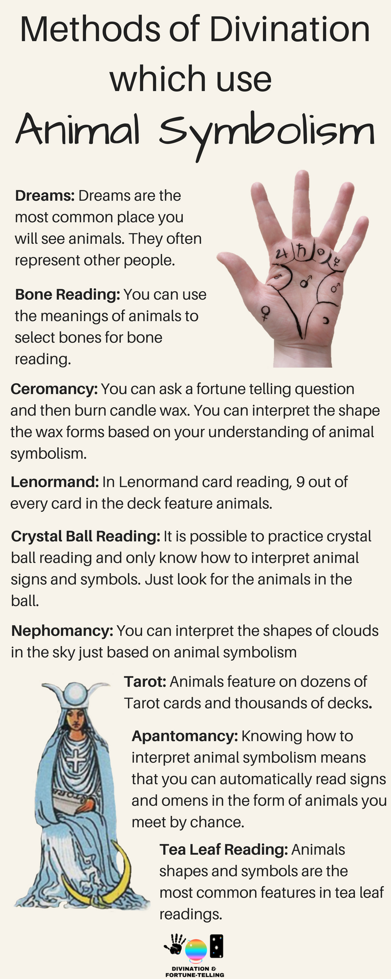 Which tool, forms and method of divination use animal symbolism? What are common animal signs and their meanings in fortune telling, spirituality and psychic development? Learning how to read animals can help if you're a beginner who is wanting to know how to read Tarot, tea leafs, omens, crystal balls, lenormand, candles, bones, casting, dreams and other types of spiritual and intuitive services.