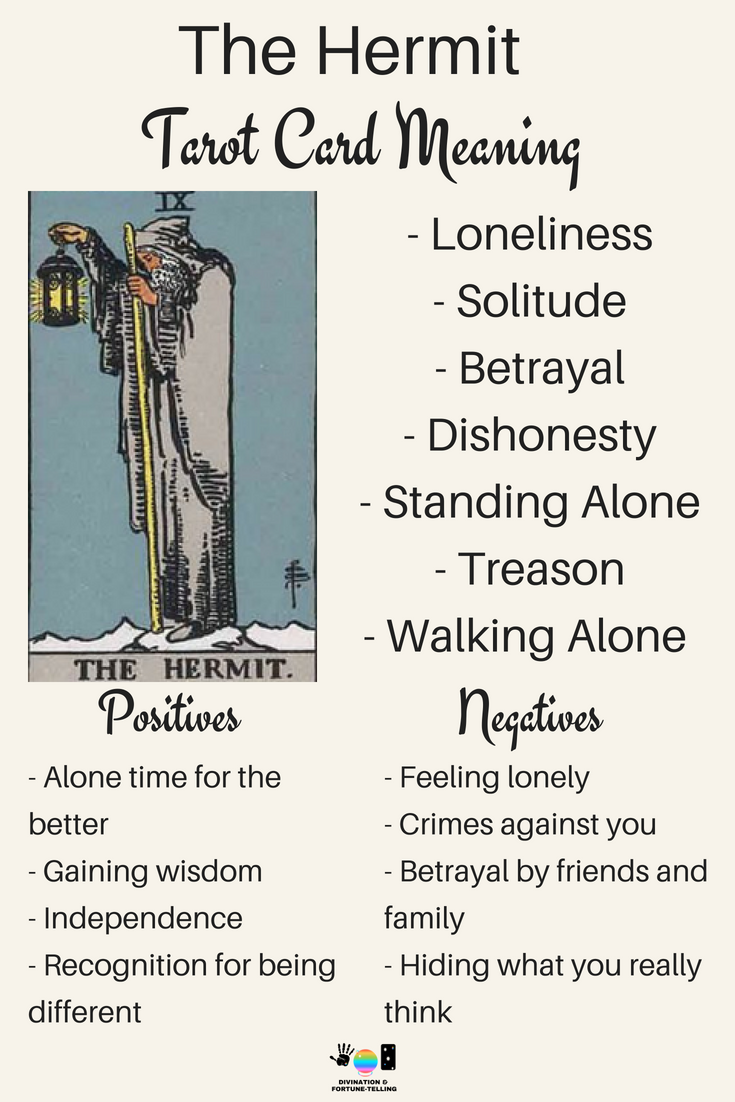 The Hermit Tarot card meaning. An illustration from the Major Arcana with the Rider Waite Tarot deck. Post by divination and fortune-telling with Tarot for love, romance and relationships. Ideal for readers who are just learning the interpretations.