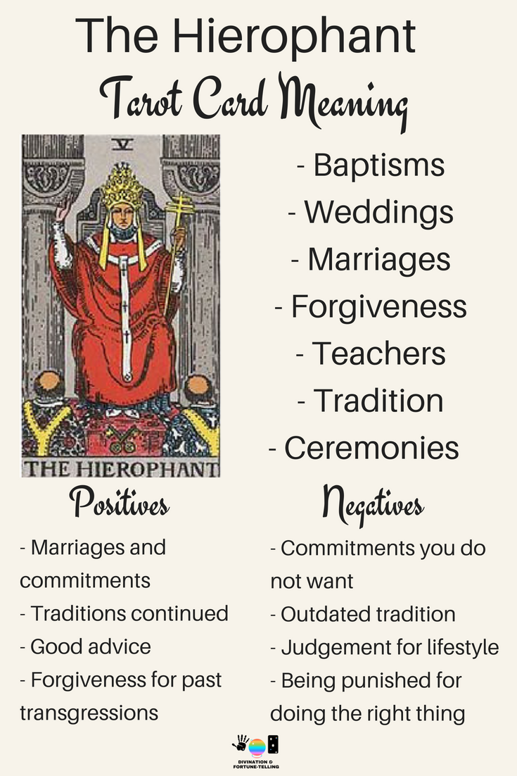 The Hierophant Tarot card meaning. An illustration from the Major Arcana with the Rider Waite Tarot deck. Post by divination and fortune-telling with Tarot for love, romance and relationships. Ideal for readers who are just learning the interpretations.
