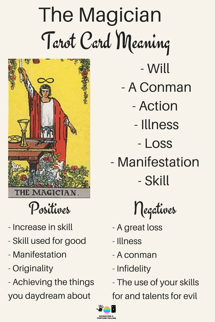 The Magician Tarot card meaning. An illustration from the Major Arcana with the Rider Waite Tarot deck. Post by divination and fortune-telling with Tarot for love, romance and relationships. Ideal for readers who are just learning the interpretations.