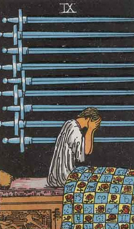 Nine of Swords  Tarot card meaning for love, romance and relationships. .png