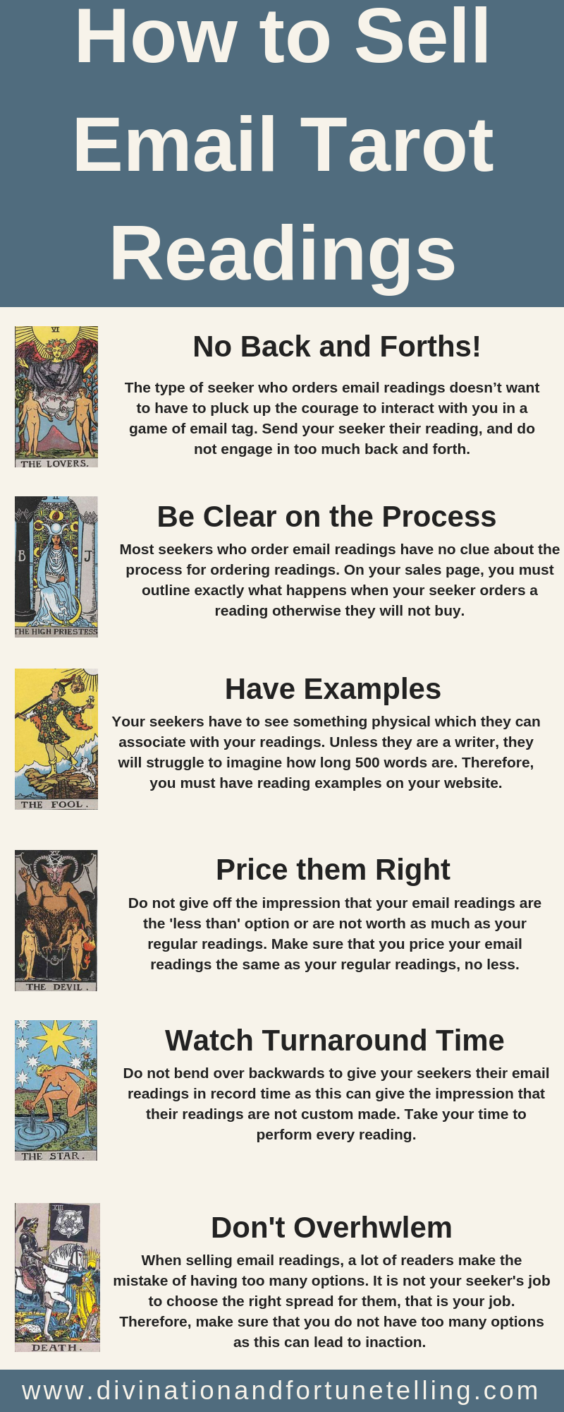 Art infographic: Are you considering beginning to give Tarot readings through email? Or maybe you already have, and you would like to know how you can give better email Tarot readings (or sell more!) If you're interested in getting some tips for how to develop your email Tarot reading practice, read on! Card deck is the Rider Waite Smith Lovers, High Priestess, Fool, Devil, Star, Death - Divination and Fortune-Telling.