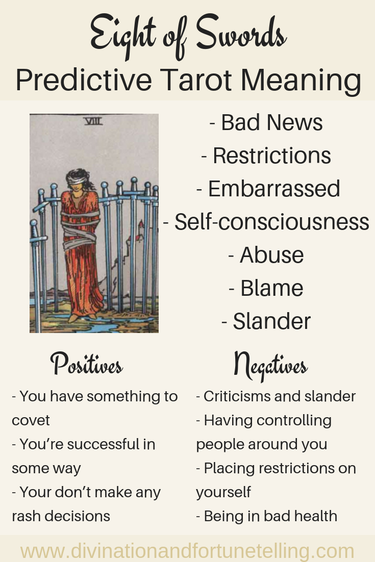 Illustration: In a Tarot card reading, The Eight of Swords in a spread can be a symbol of abuse and restrictions. This post includes a vintage and modern fortune telling meanings of The 8 of Swords, ideal for the advanced reader or those just learning the cards. These interpretations can be used with any of the decks (Rider Waite, Marseilles etc).