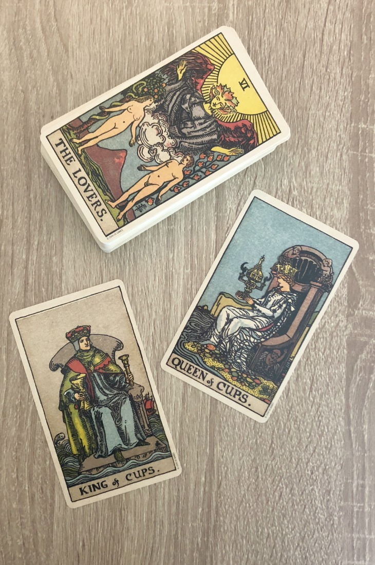 The Queen of Cups and King of Cups in combination in a Tarot card reading.