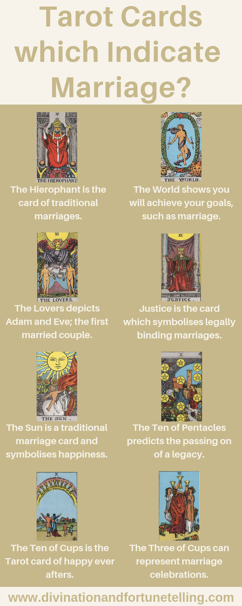 Art Illustrations: Which Tarot cards are indicators of marriage? What are the best cards which predict that you will marry your partner? Which Tarot cards represent major commitments such as engagements or legal marriages? - Card deck is the Rider Waite Smith.
