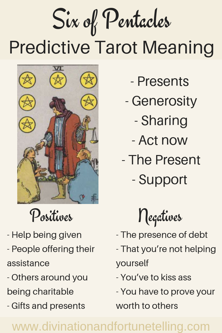 Six of Pentacles: Predictive Tarot Card Meaning — Lisa Boswell