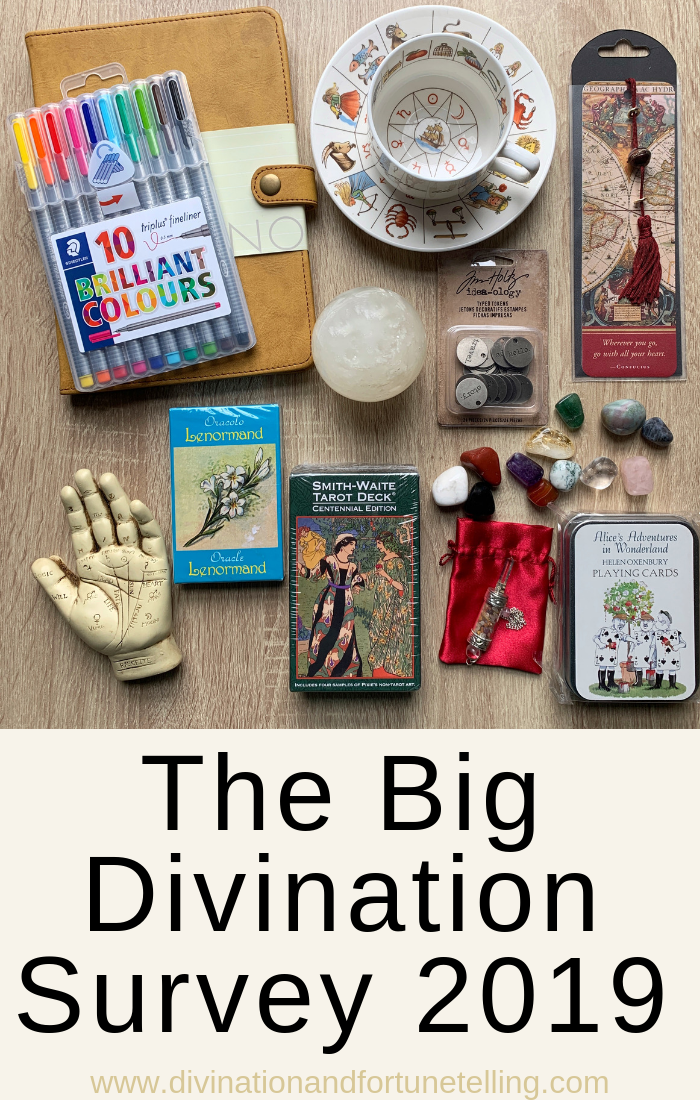 Art Illustration: Art Illustration: The Big divination survey of fortune tellers who read astrology, Tarot, lenormand, cartomancy, dowsing, crystal ball, scrying, lithomancy, palmistry, tea cup reading, and tassomancy.