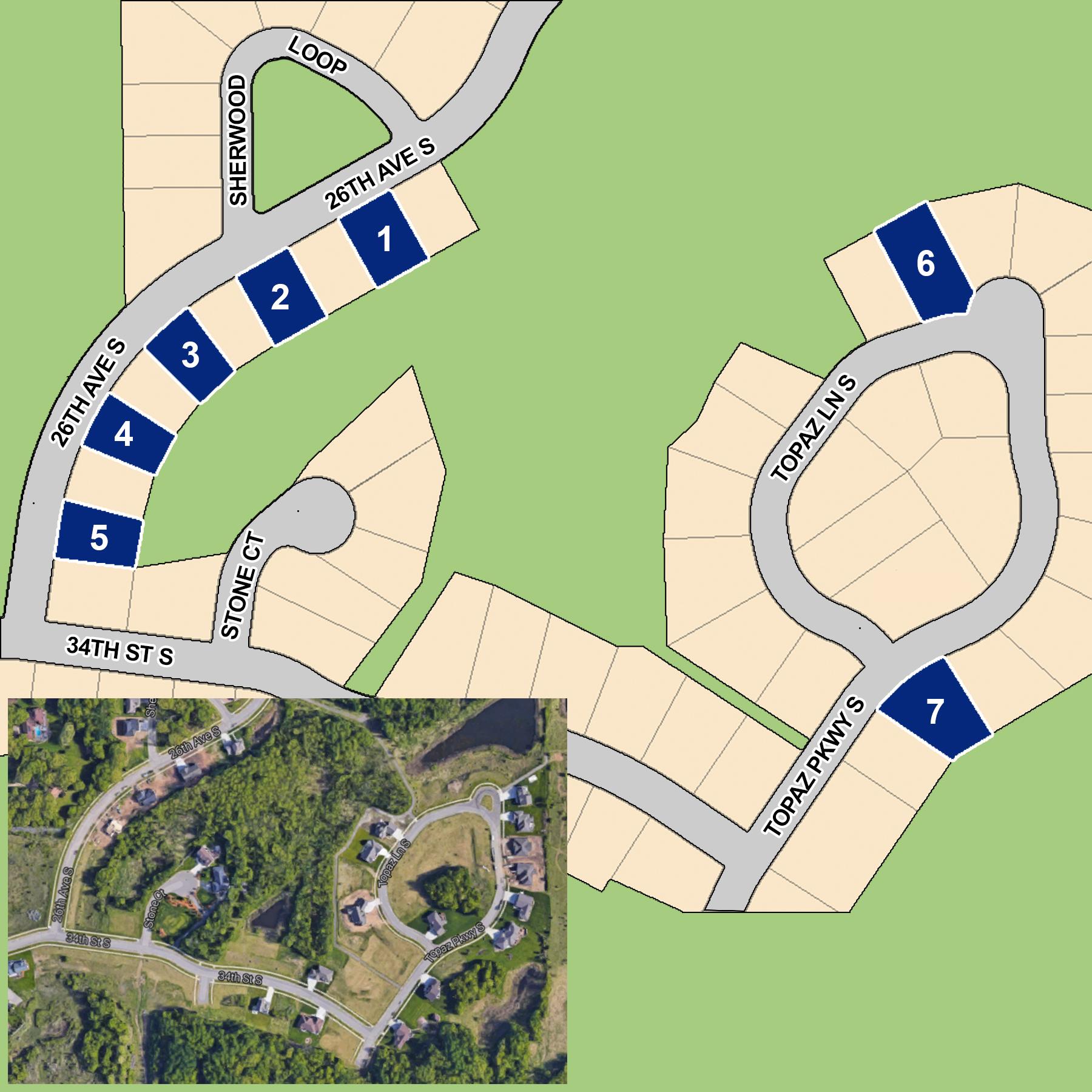 Quarry Woods - Lot 1:$49,9003324 26th Ave. S, St. Cloud 56301Lot 2:$49,9003332 26th Ave. S, St. Cloud 56301Lot 3:$44,9003340 26th Ave. S, St. Cloud 56301Lot 4:$44,9003348 26th Ave. S, St. Cloud 56301Lot 5:$44,9003356 26th Ave. S, St. Cloud 56301Lot 6:$69,9003311 Topaz Lane, St. Cloud 56301Lot 7:$79,9003354 Topaz Lane, St. Cloud 56031