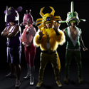 Peelander-Z (L-R):Peelander-Purple, Peelander-Pink, Peelander-Yellow, Peelander-Green. Photo credit:Daisuke Yoshida. Click for hi-res.