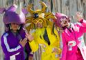 Peelander-Z (L-R):Peelander-Purple, Peelander-Yellow, Peelander-Pink. Photo credit: Ryota Mori. Click for hi-res.