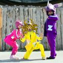 Peelander-Z (L-R):Peelander-Pink, Peelander-Yellow, Peelander-Purple,. Photo credit: Ryota Mori. Click for hi-res.