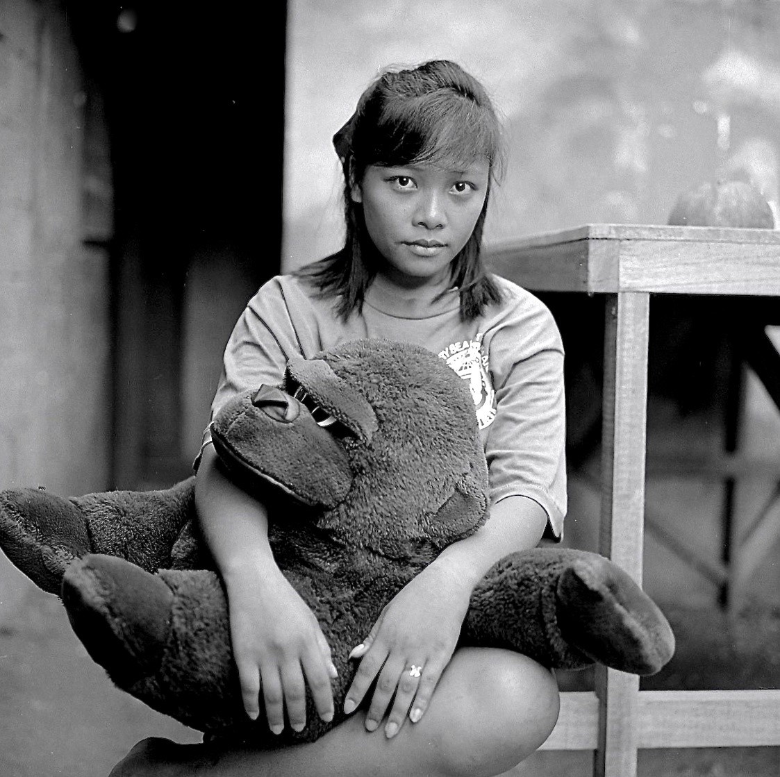 Girl With Stuffed Gorilla, Subic City, 1991