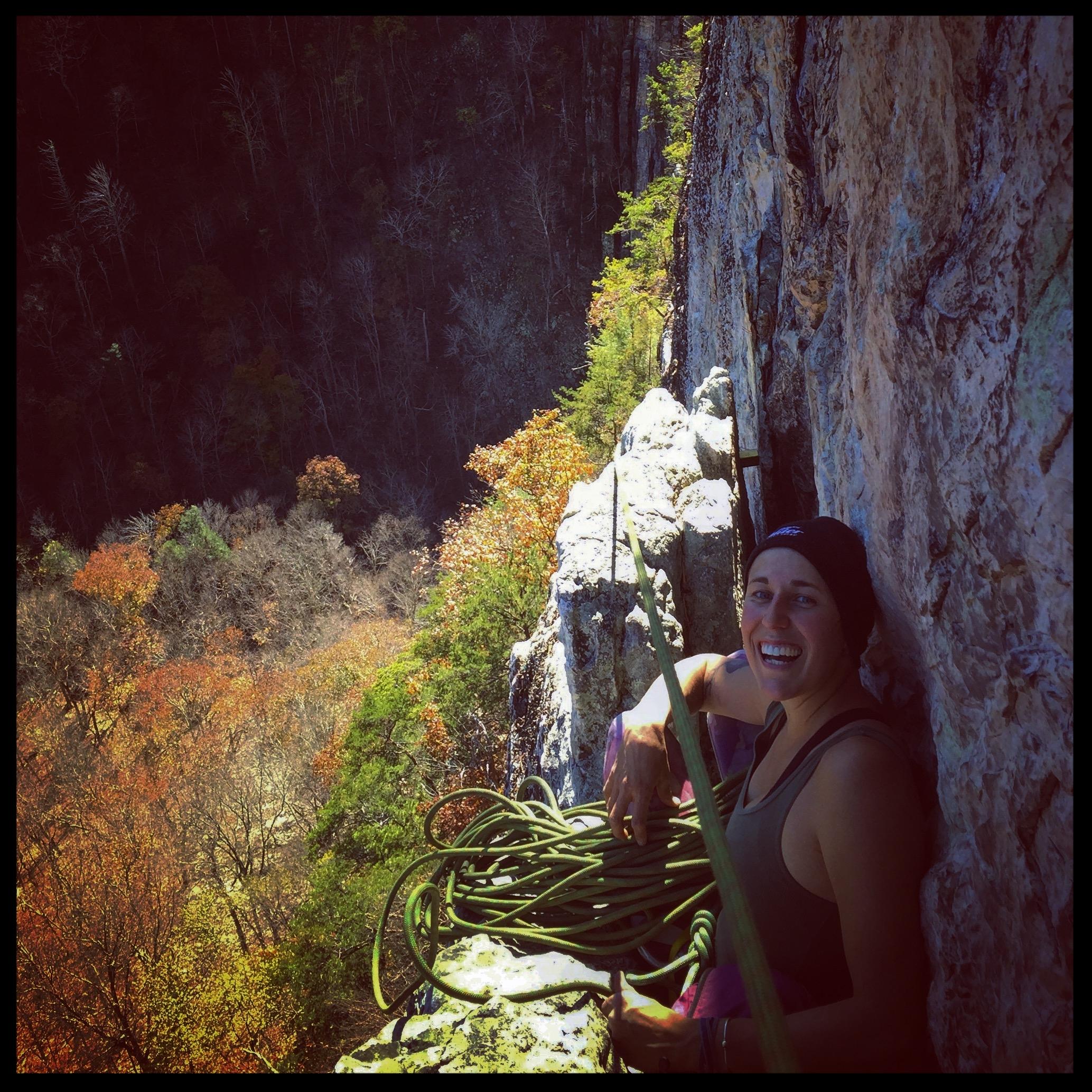 Seneca Rocks, West Virginia, Fall 2016. When I'm not foraging, I'm climbing, running, hiking, camping, or cooking.