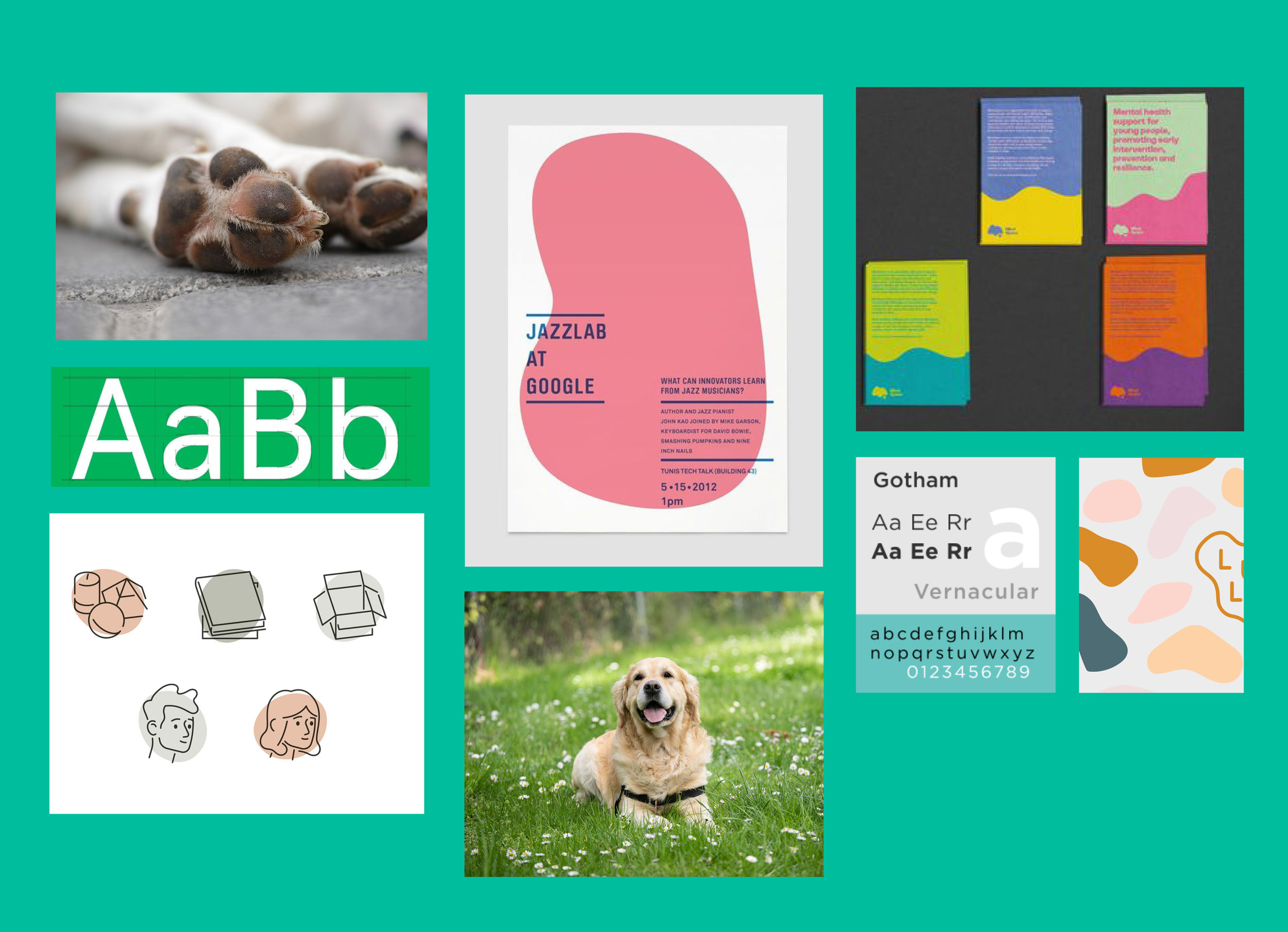 Brand moodboard: a mix of fluid shapes and fresh colours