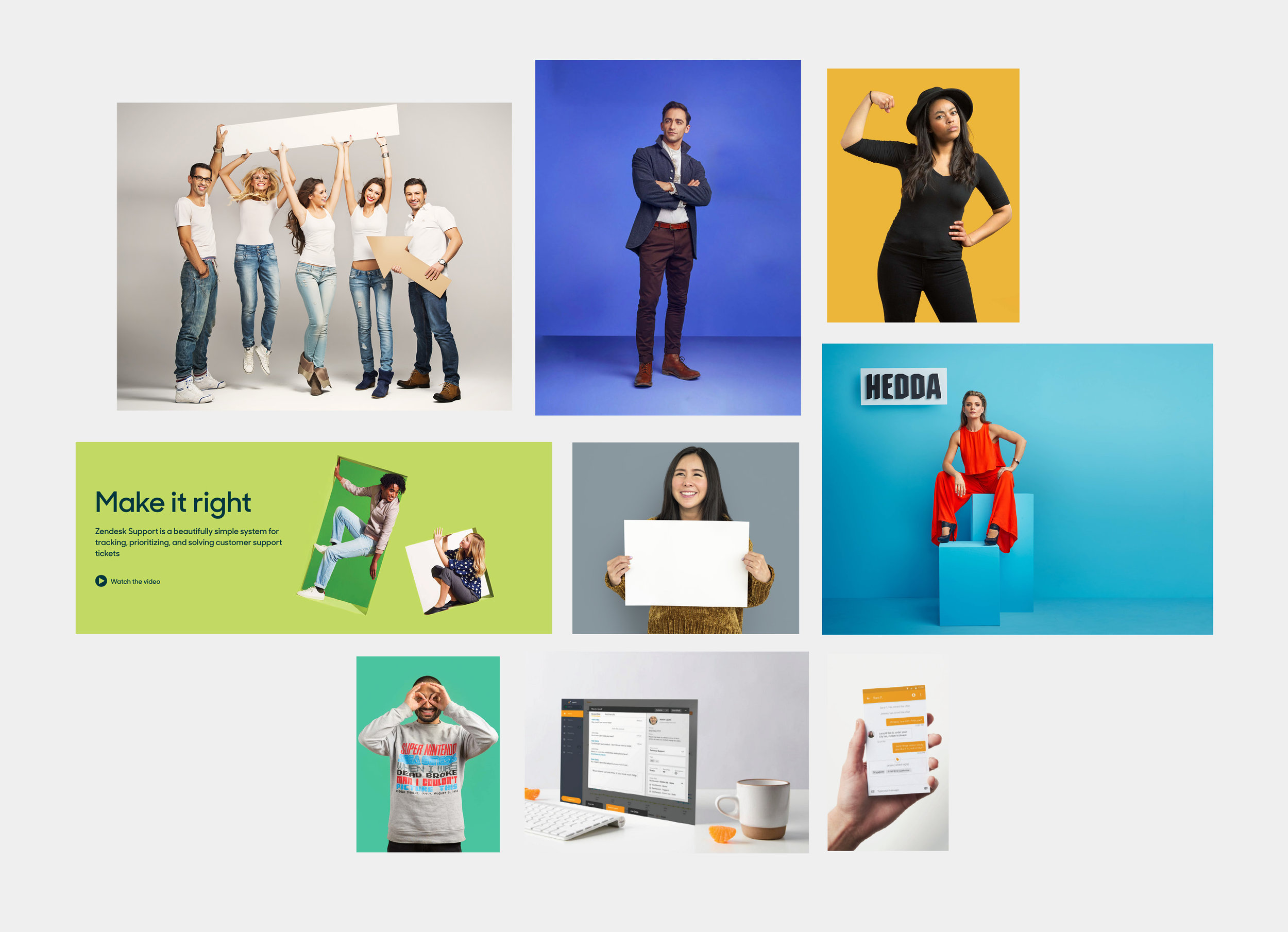 Initial photography moodboard - Expressive poses on plain backgrounds. Models holding cutouts. Creative display of the UI.
