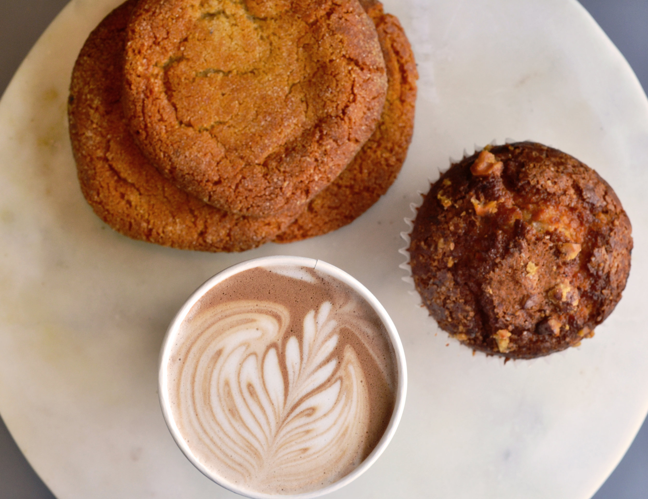Our Mocha accompanied by locally made pastries