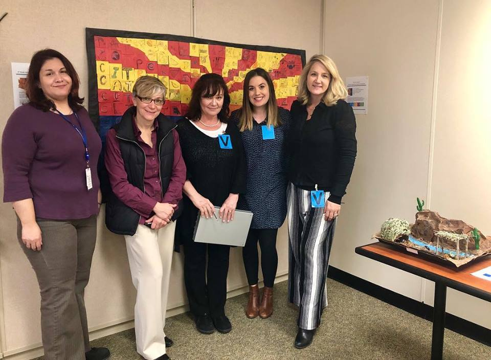 """I recently was a community partner adjudicator for Arizona Department of Education's 2019 """"We Are Arizona"""" 4th Grade Collaborative Student Artwork Competition. Was a wonderful and inspiring event!"""