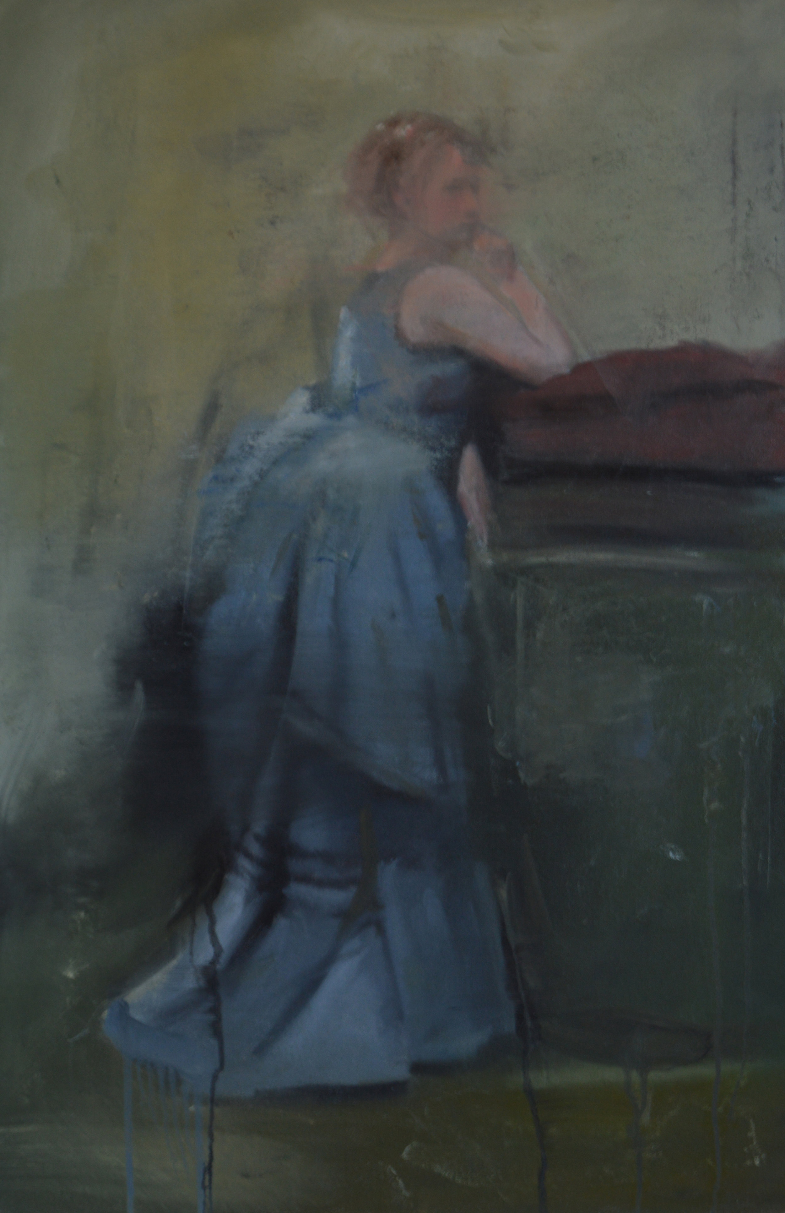 The Lady in Blue after Corot 2017. 36x24 in. Oil on Canvas.