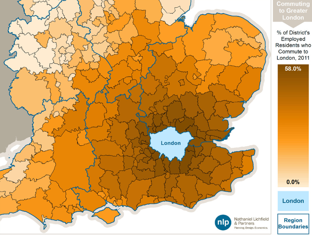 Percent of employed residents commuting to london, from nathaniel lichfield and partners