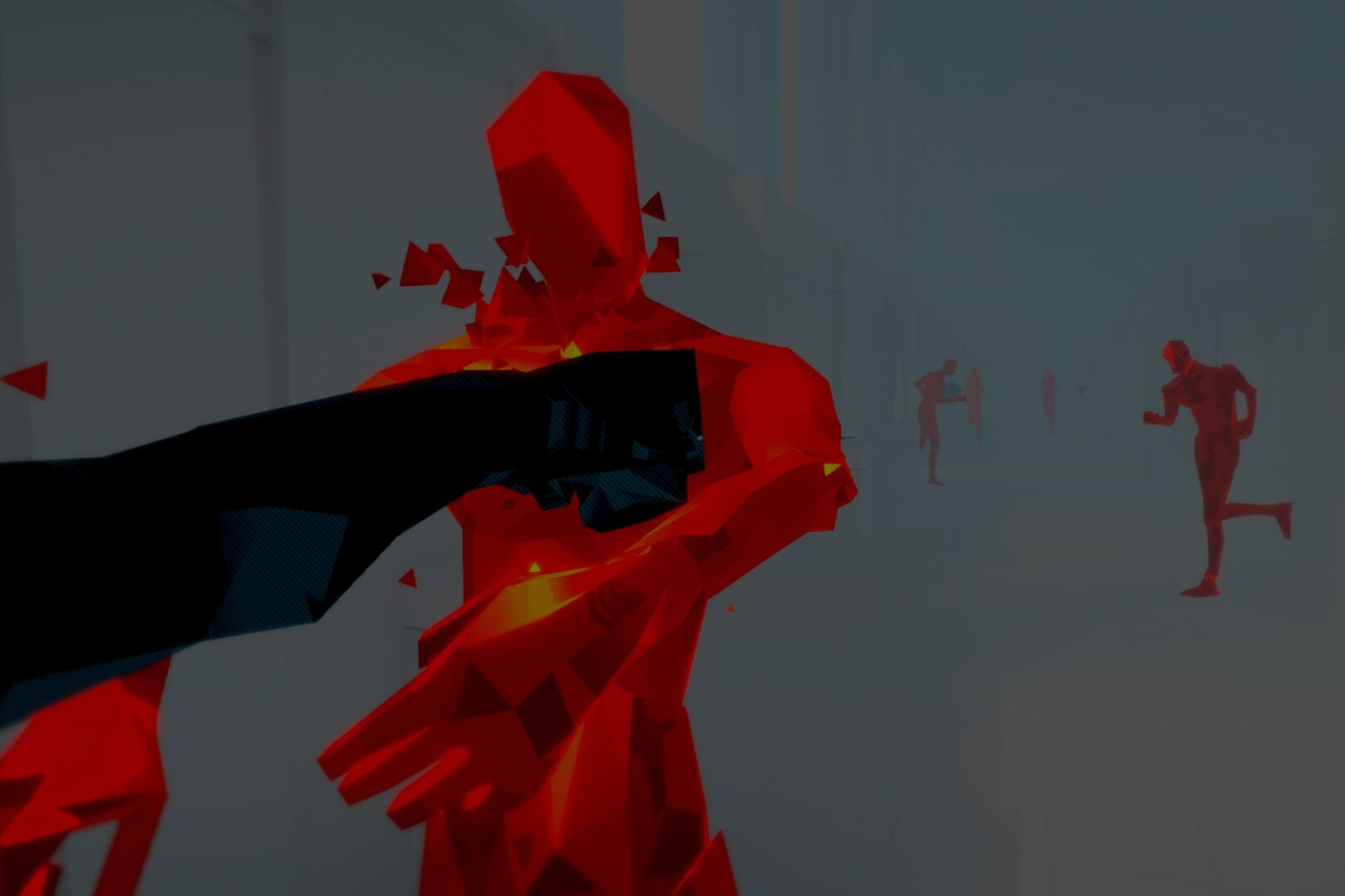 SuperHot - Enemies pouring into the room from all sides, a dozen bullets coursing through the air... wait. Something's different here. Time only moves when I move.