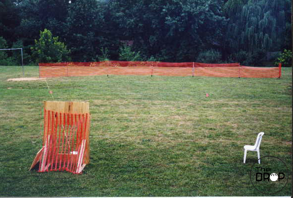 A narrower - although still very bulky and cumbersome - version of the Hole strike zone set up prior to a 1998 tournament in Maryland.