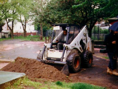 Former Trenton Major Douglas Palmer (1990 - 2010) personally mans a bulldozer as construction on the Pat Pone Wiffle®Ball park gets under way in early 1991.