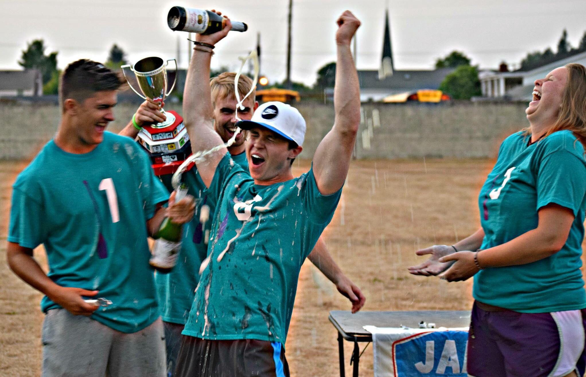 The Castle Rock Rapids (L:R Jeter Larson, Troy Flanagan, Ty Johnson) celebrate their JAL XVI championship.