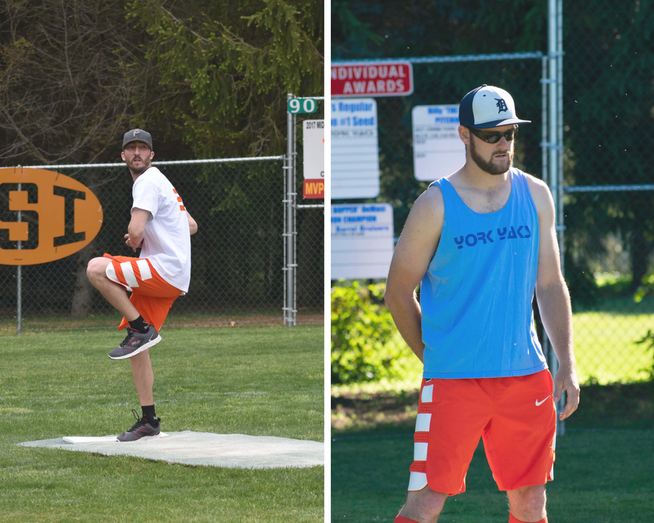 The Yaks' Adam Milsted (left) and Jarod Bull (right) will be on the field together for the first time this season at   Wiffle Bash  .