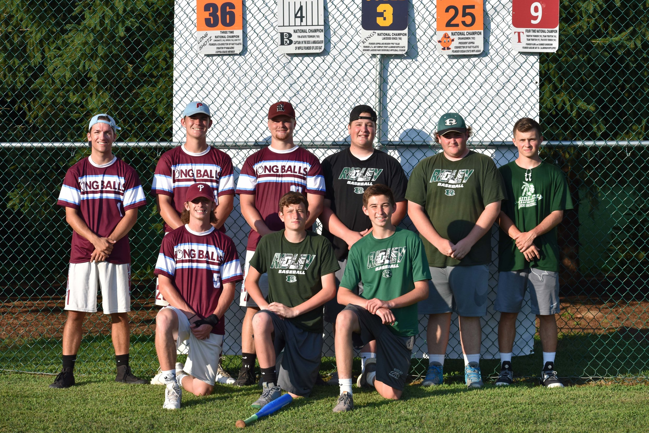 The Longballs and Shortballs - both out of the Ridley Park Wiffleball League - pose for a picture together after the tournament. Combined, the teams allowed just five runs in 46 innings on the day.