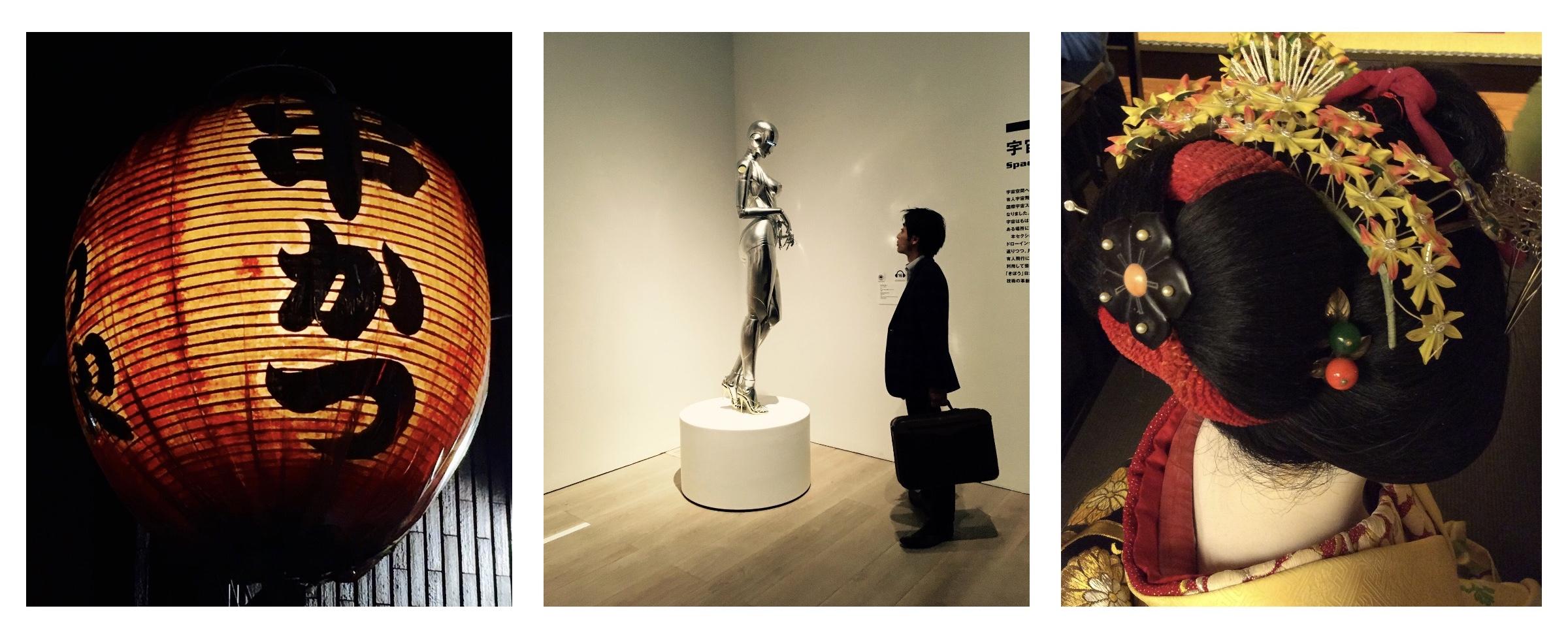 Ravintolan mainoslyhty Pontochossa, näyttely Morin taidemuseossa, meitä emännöineen maikon hiuslaite Gionissa.