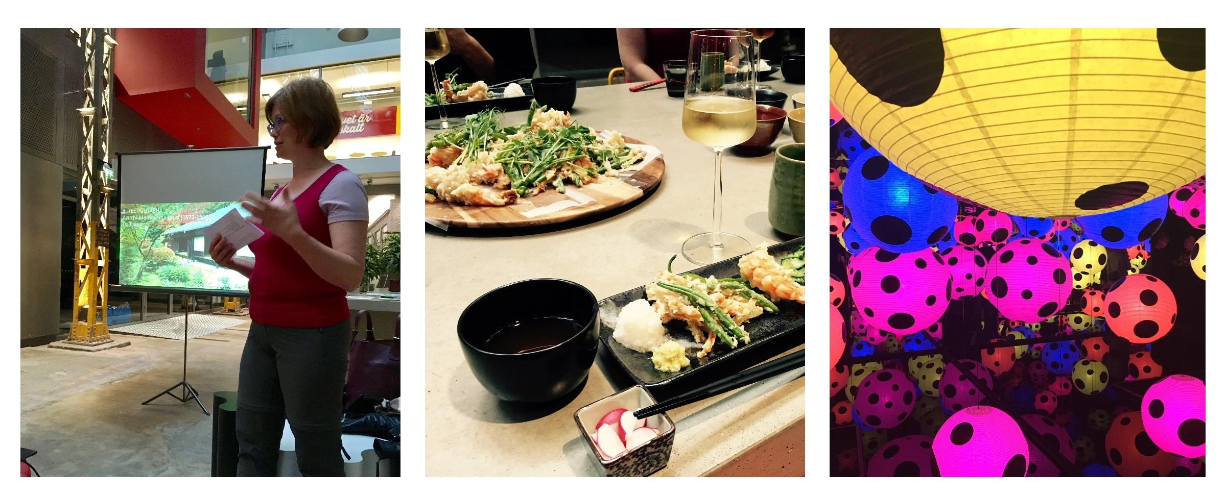 Kristina Vahvaselkä pitää esitelmää japanilaisista puutarhoista Tabi-tapaamisessa, tutustumme jo ennen lähtöä japanilaiseen ruokakulttuuriin  Yasukon keittiön  avustuksella, Yayoi Kusaman näyttely HAM:ssa.