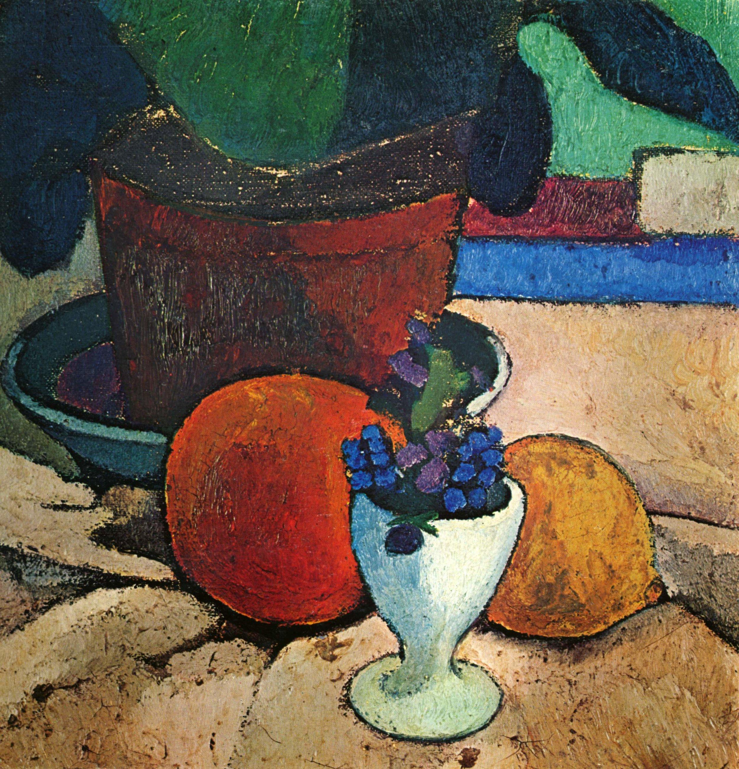 Stillleben mit Blattpflanze, Zitrone und Apfelsine , 1906,Paula Modersohn-Becker.- Aus: The Yorck Project: 10.000 Meisterwerke der Malerei.