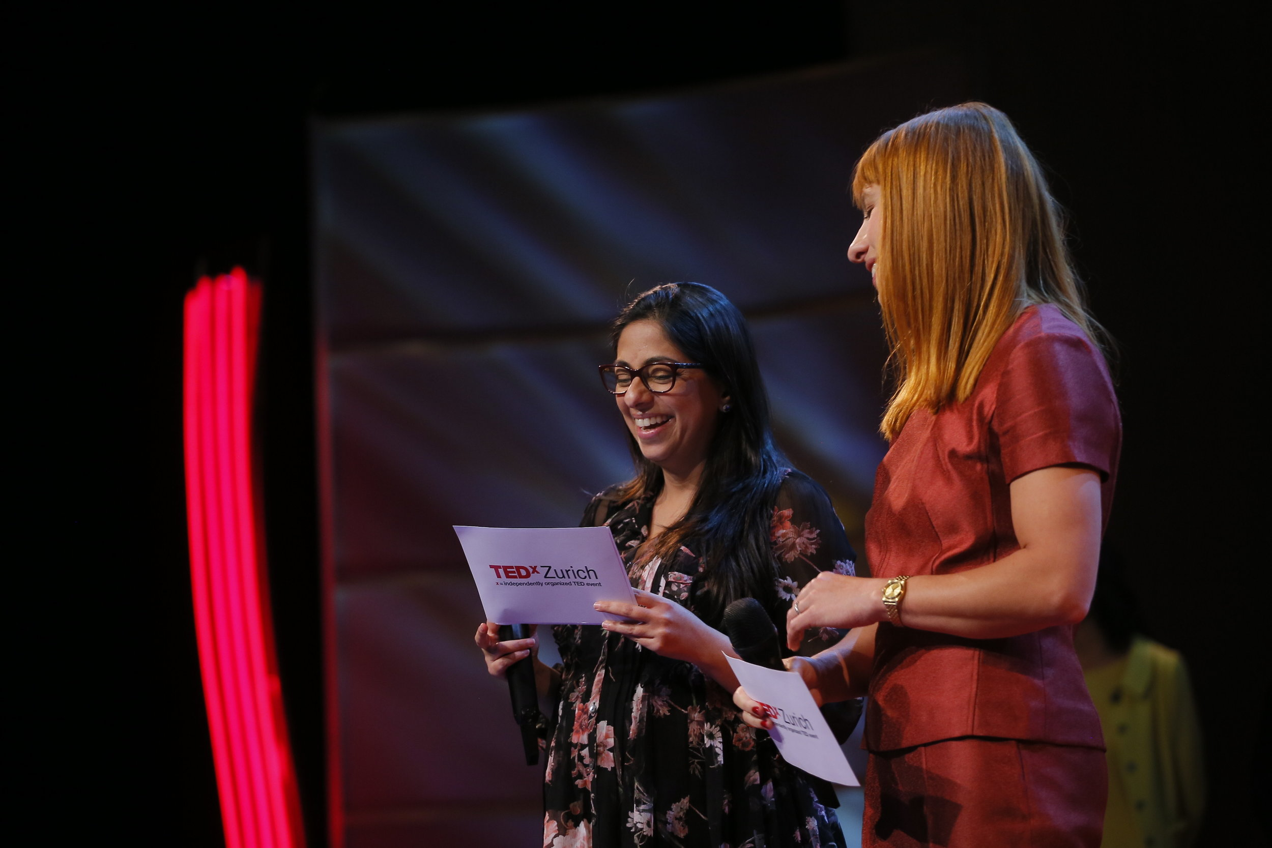 Fareena Chaudhry and Nina Schneider are the heads of committee of TEDxZurich. It was the first time TEDxZurich had co-leads and co-hosts.