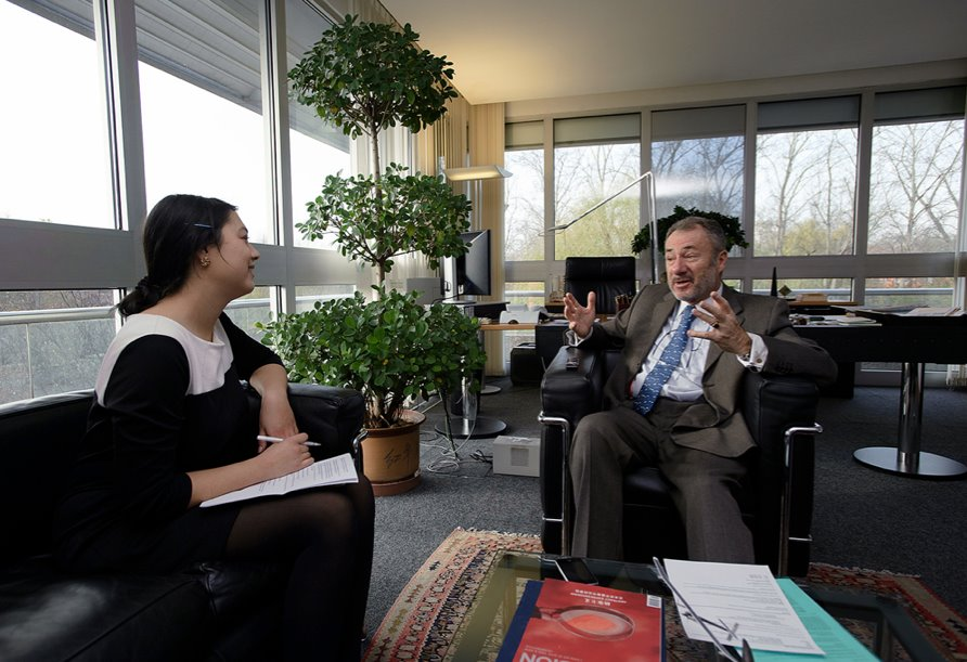 Interviewing  Swiss Ambassador to China Blaise Godet  in Beijing, 2011.