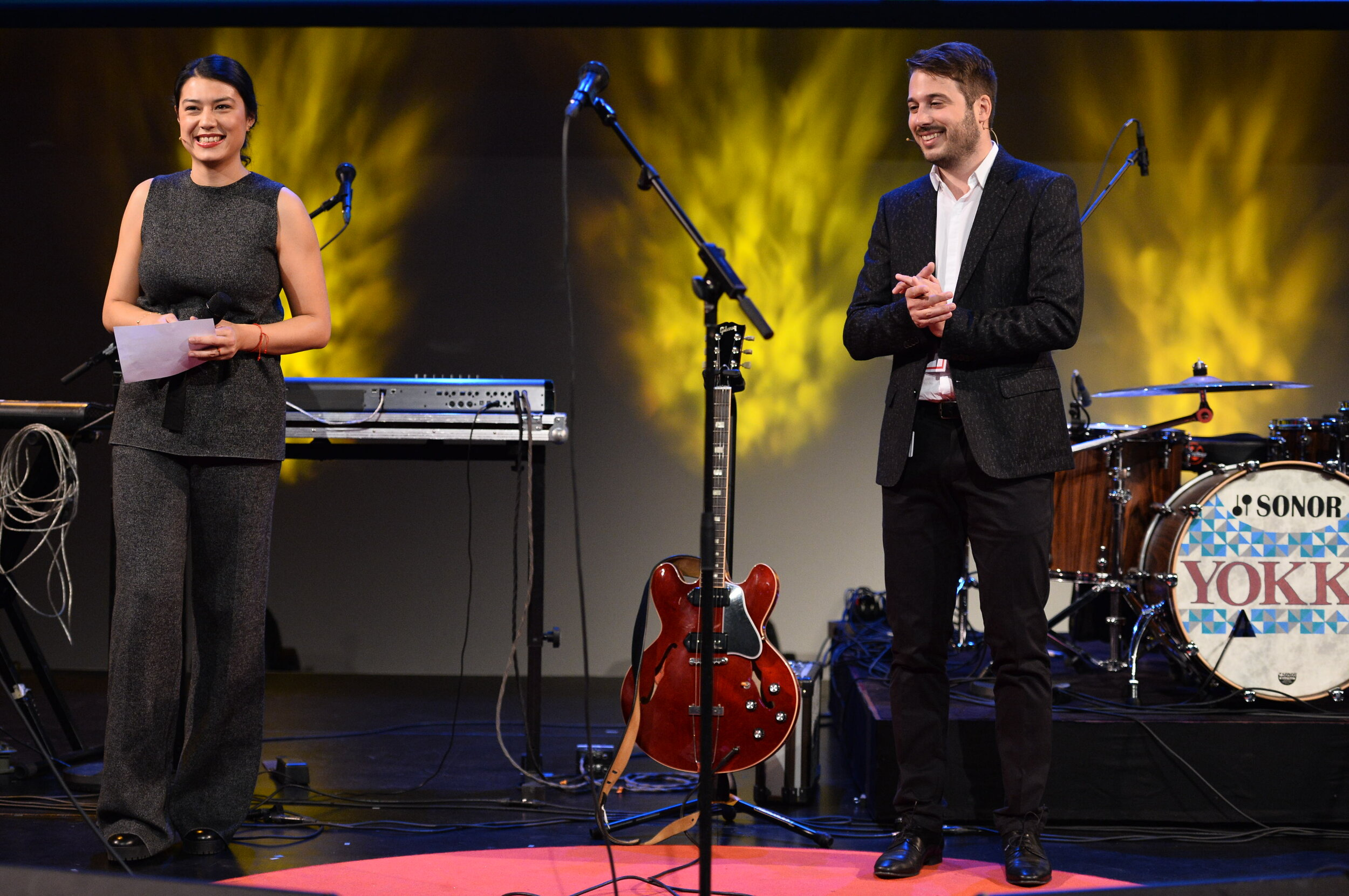 Moderating my first TEDxZurich 2015 - here with David Nydegger.