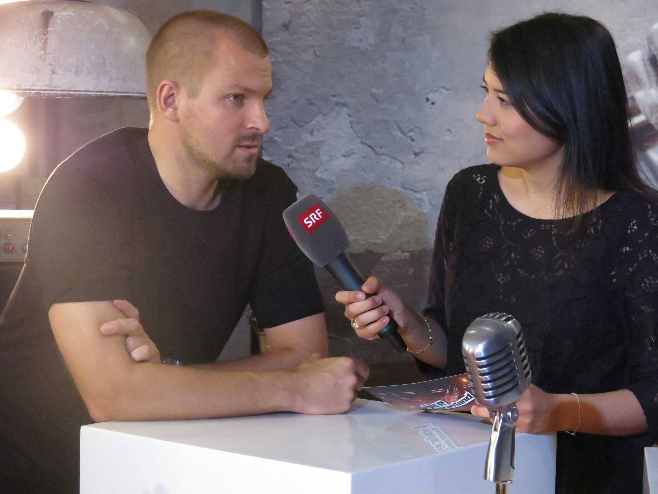 One of the many interviews with rapper Stress for «The Voice of Switzerland».