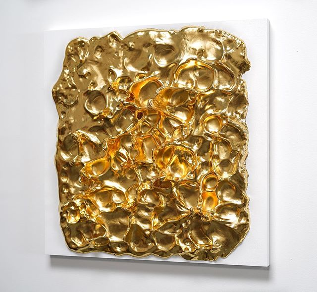 Mutation I, 24ct gold & sculpted precious resin. 50cm x 50cm. This is the smaller of two new wall pieces.  #gilding #sculpt #contemporarysculpture #wallart #wallsculpture #contemporaryart #contemporaryartgallery #londonart #artfairs