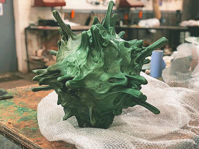 Wax progress of my sculpture 'Planet II' by the amazing team at @castlefinearts. This was a complicated mould to say the least and it's now ready for it's ceramic shell. . . You can see the finished bronze at @theotherartfair in Victoria House this October. It's bigger brother will be on display early next year at an exhibition @ursvonungergallerygstaad with more details to follow. . . #sculpture #contemporarysculpture #modernsculpture #abstractsculpture #contemporaryart #collectabledesign #lostwaxcasting #bronzesculpture #lostwax