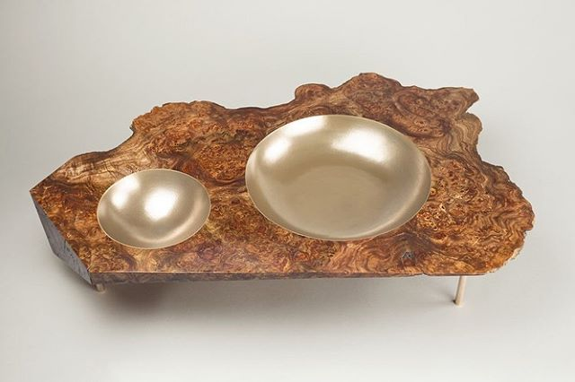 One from the vault! An old piece I produced from an English walnut burl, with bronze bowl sections. Much bigger than it looks (1.2m across) . . Even though this is far removed from the type of work I'm making today, it's a piece I'm proud of and one that (I think) does justice to the natural beauty of the timber.  #furnituredesign #woodworking #furnituredesign #artanddesign #dowoodworking #sculpture #woodsculpture #contemporarysculpture