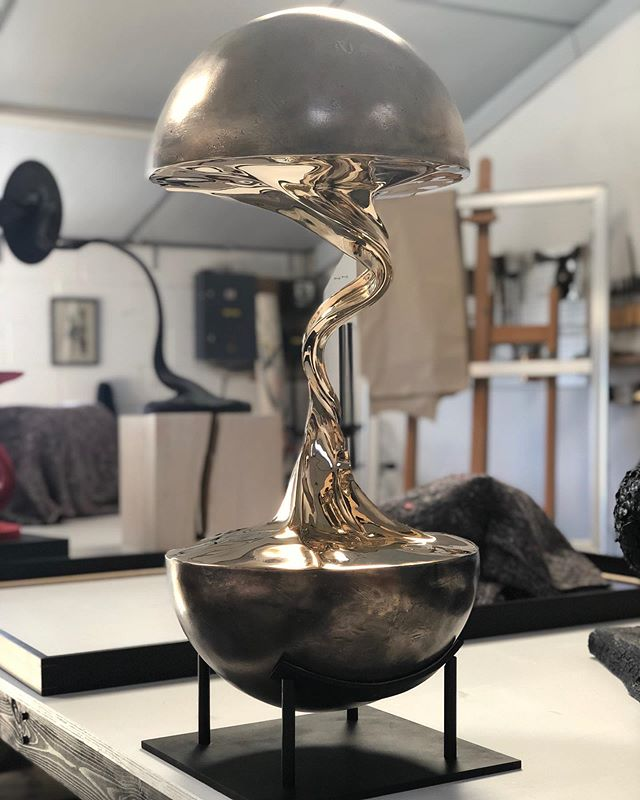 Just finished this bronze sculpture 'Planet I' which will be going on display at @theotherartfair from tomorrow until Sunday. Tickets are still available and can be had for free by following the link in my profile. . . #contemporarysculpture #sculpture #bronzecasting #modernsculpture #contemporaryart #collectabledesign #artanddesign #bronzesculpture