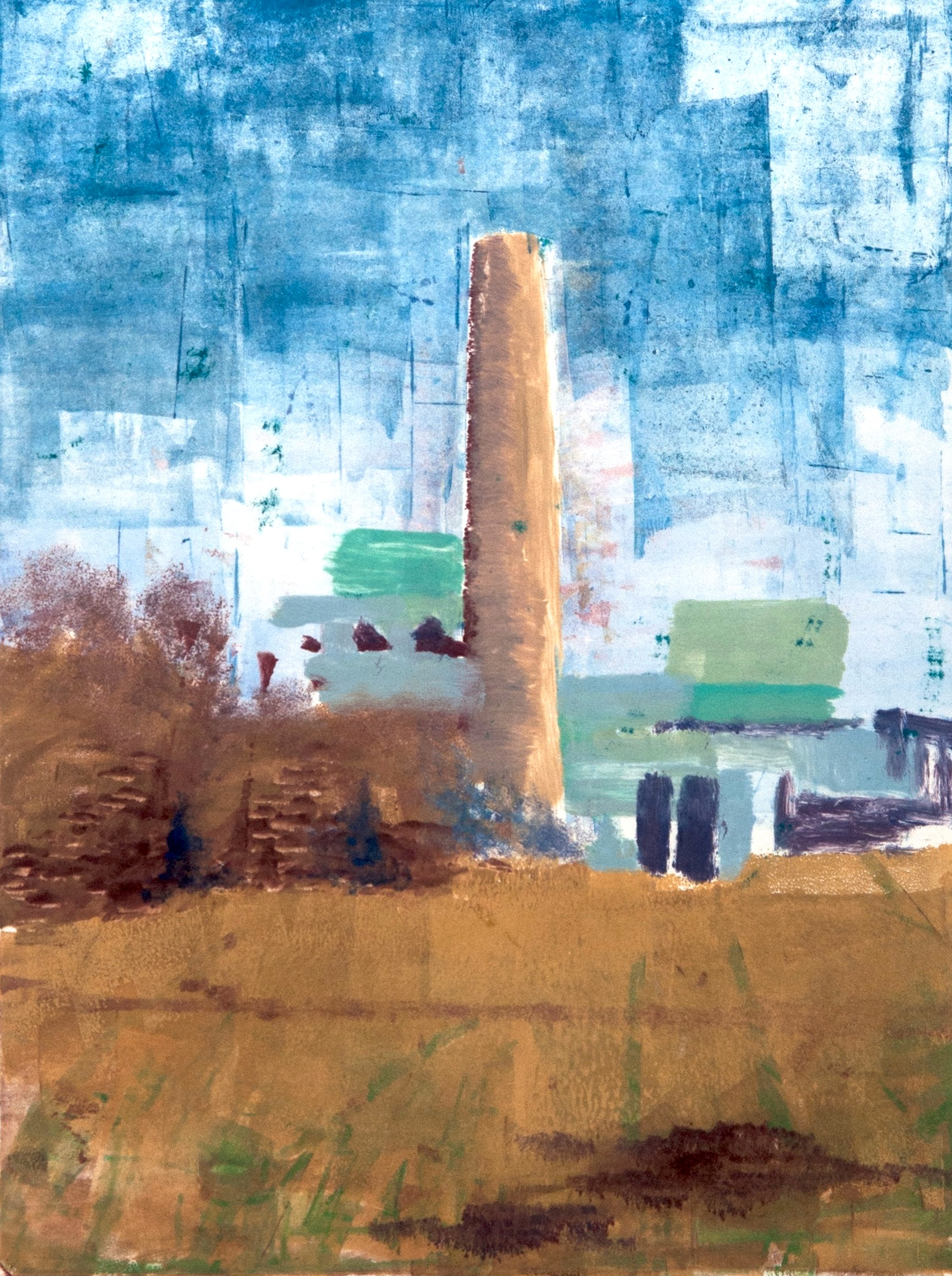 A Pit Stop   water based monotype on paper