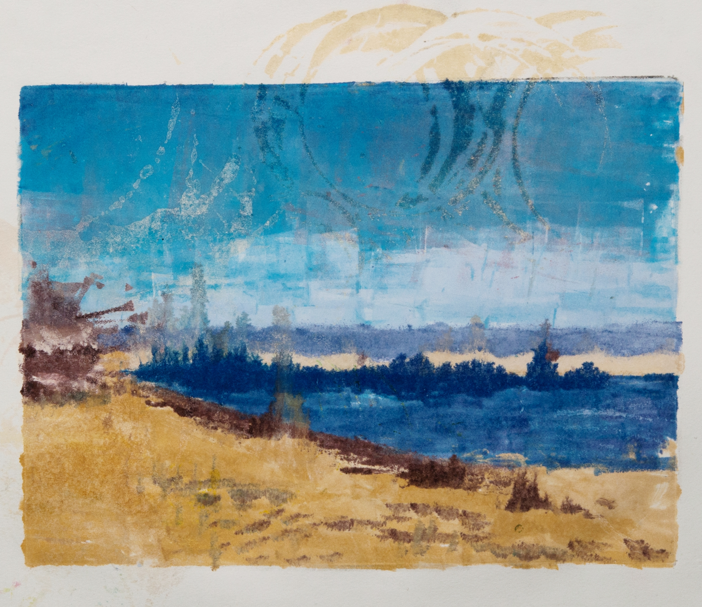 An Uplifting Trip   water based monotype on paper