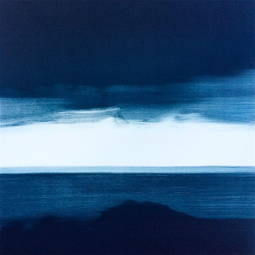 "© Frances Ashforth, ""Blue Line 1"", Unique waterbase monotype, 22"" x 22"", 2017"